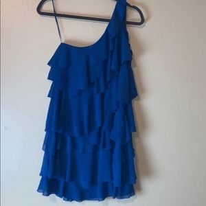 H&M one shoulder blue ruffle dress size 4